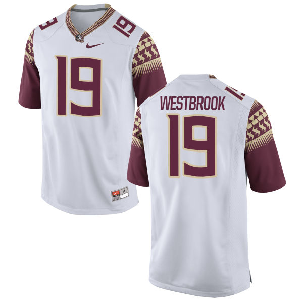 Men's Nike A.J. Westbrook Florida State Seminoles Game White Football Jersey