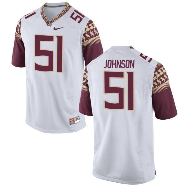 Men's Nike Baveon Johnson Florida State Seminoles Game White Football Jersey