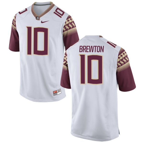 Men's Nike Calvin Brewton Florida State Seminoles Game White Football Jersey