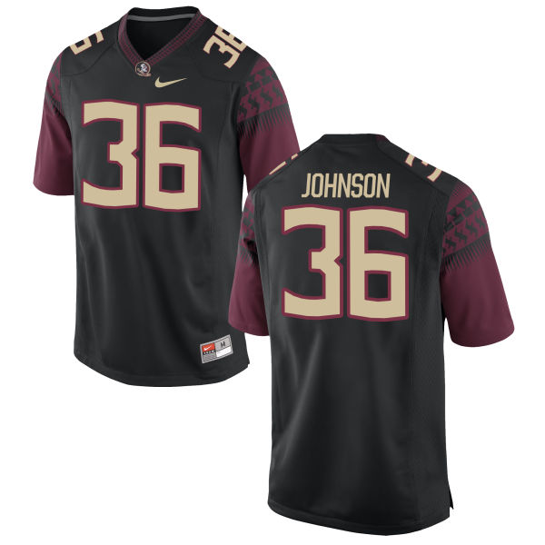 Men's Nike Eric Johnson Florida State Seminoles Game Black Football Jersey