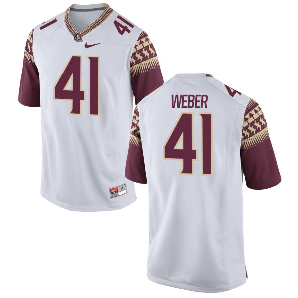 Men's Nike Zachary Weber Florida State Seminoles Game White Football Jersey