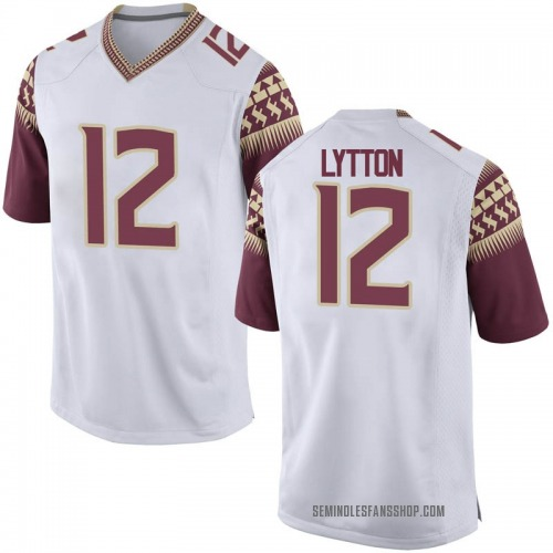 Men's Nike A.J. Lytton Florida State Seminoles Game White Football College Jersey