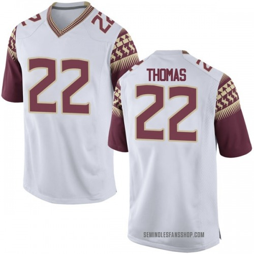 Men's Nike Adonis Thomas Florida State Seminoles Game White Football College Jersey