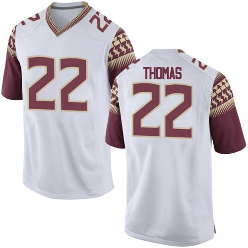 Men's Nike Adonis Thomas Florida State Seminoles Replica White Football College Jersey