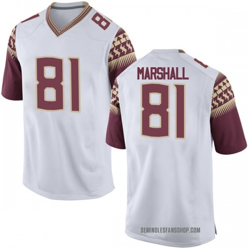 Men's Nike Alex Marshall Florida State Seminoles Game White Football College Jersey
