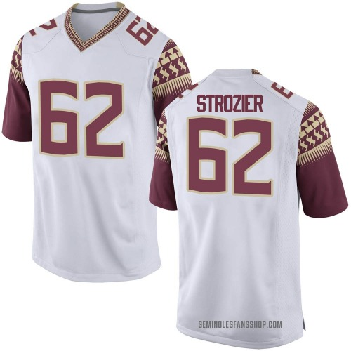 Men's Nike Alexander Strozier Florida State Seminoles Game White Football College Jersey