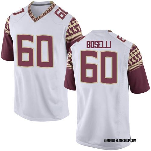 Men's Nike Andrew Boselli Florida State Seminoles Game White Football College Jersey