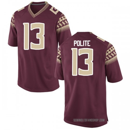 Men's Nike Anthony Polite Florida State Seminoles Game Garnet Football College Jersey