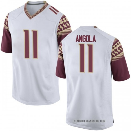 Men's Nike Braian Angola Florida State Seminoles Game White Football College Jersey