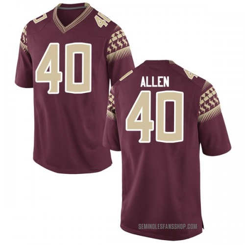Men's Nike Brandon Allen Florida State Seminoles Game Garnet Football College Jersey