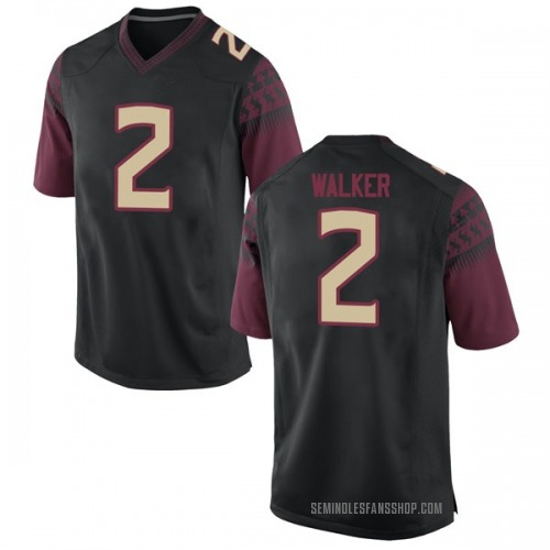 Men's Nike CJ Walker Florida State Seminoles Game Black Football College Jersey