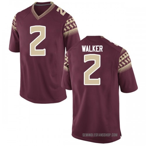 Men's Nike CJ Walker Florida State Seminoles Game Garnet Football College Jersey