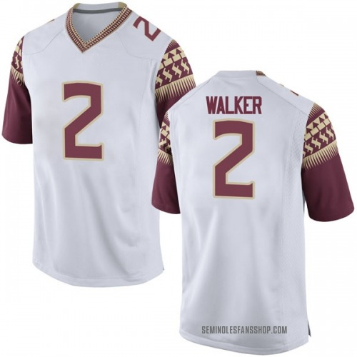 Men's Nike CJ Walker Florida State Seminoles Game White Football College Jersey