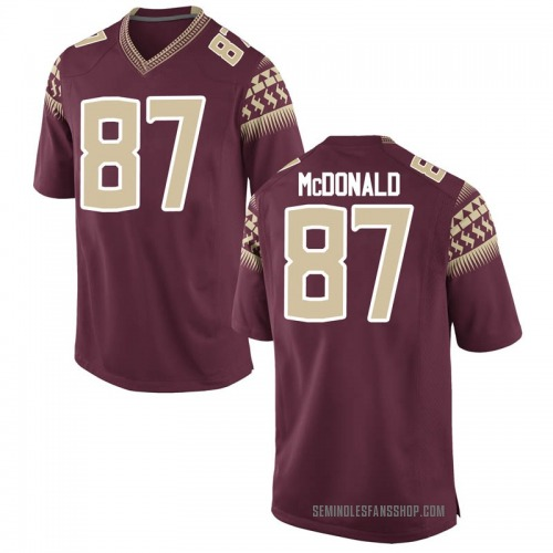 Men's Nike Camm McDonald Florida State Seminoles Game Garnet Football College Jersey