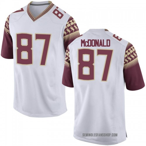Men's Nike Camm McDonald Florida State Seminoles Game White Football College Jersey