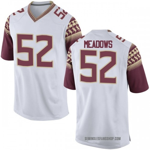 Men's Nike Christian Meadows Florida State Seminoles Game White Football College Jersey