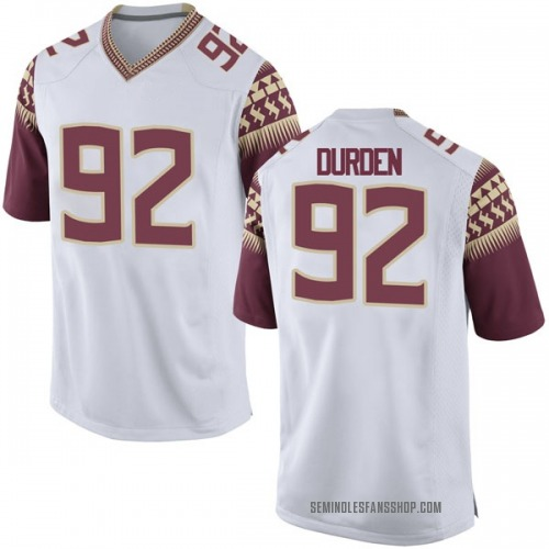 Men's Nike Cory Durden Florida State Seminoles Game White Football College Jersey