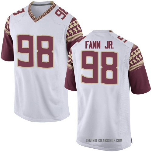 Men's Nike Curtis Fann Jr. Florida State Seminoles Game White Football College Jersey