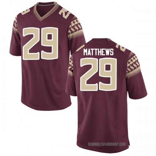 Men's Nike D.J. Matthews Florida State Seminoles Game Garnet Football College Jersey