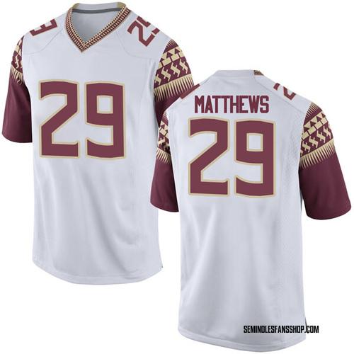 Men's Nike D.J. Matthews Florida State Seminoles Game White Football College Jersey