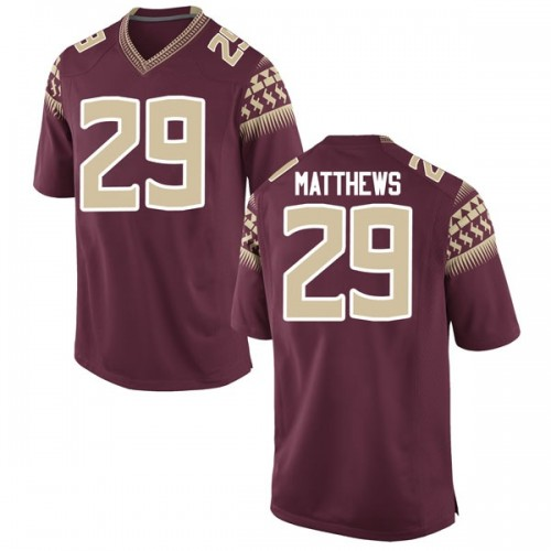 Men's Nike D.J. Matthews Florida State Seminoles Replica Garnet Football College Jersey