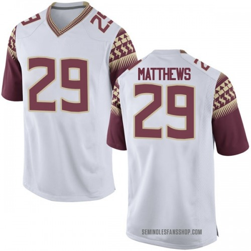 Men's Nike D.J. Matthews Florida State Seminoles Replica White Football College Jersey
