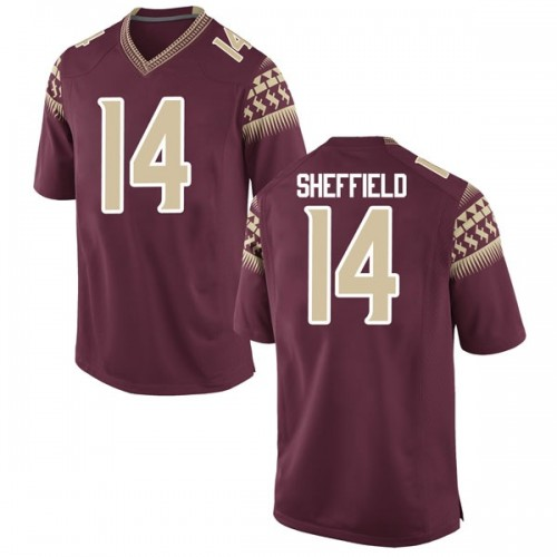 Men's Nike Deonte Sheffield Florida State Seminoles Game Garnet Football College Jersey