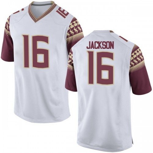 Men's Nike Dontavious Jackson Florida State Seminoles Game White Football College Jersey