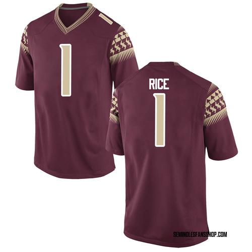 Men's Nike Emmett Rice Florida State Seminoles Game Garnet Football College Jersey