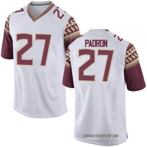 Men's Nike Fernando Padron Florida State Seminoles Game White Football College Jersey