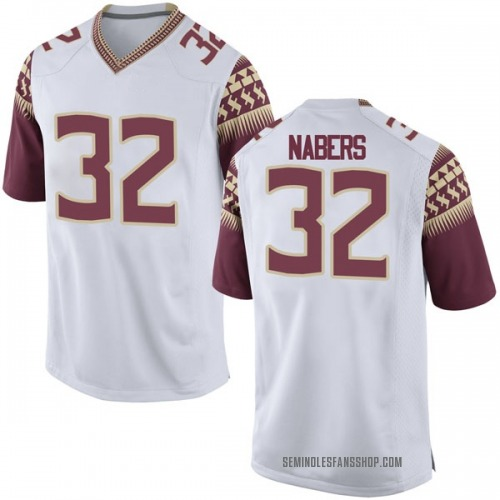Men's Nike Gabe Nabers Florida State Seminoles Game White Football College Jersey