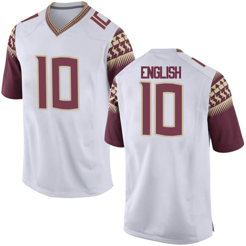 Men's Nike Gino English Florida State Seminoles Game White Football College Jersey