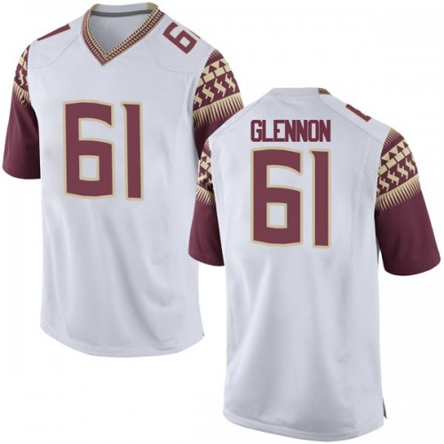Men's Nike Grant Glennon Florida State Seminoles Game White Football College Jersey