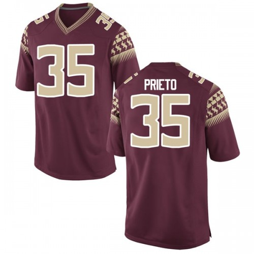 Men's Nike Harrison Prieto Florida State Seminoles Game Garnet Football College Jersey