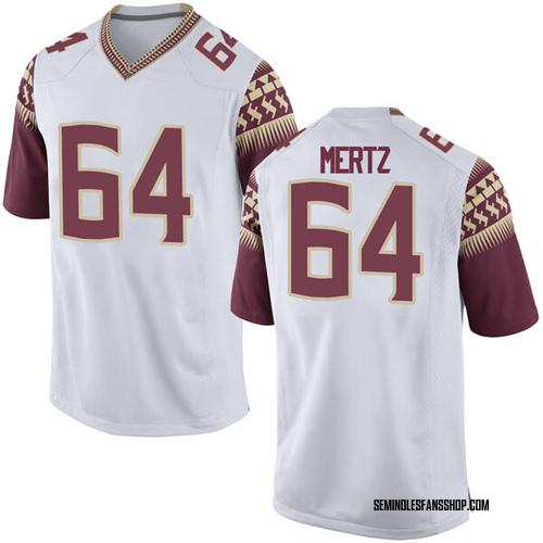 Men's Nike JT Mertz Florida State Seminoles Game White Football College Jersey