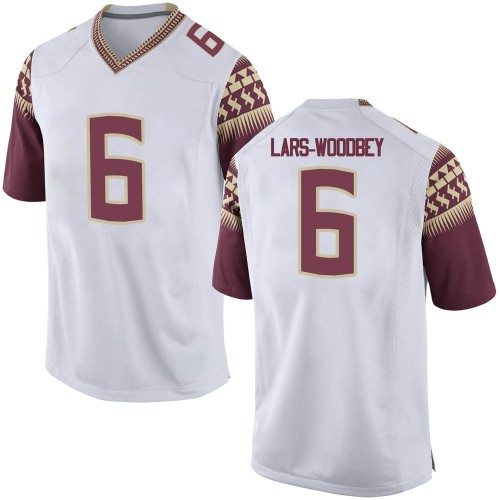 Men's Nike Jaiden Lars-Woodbey Florida State Seminoles Game White Football College Jersey