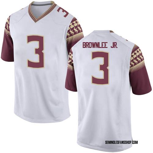 Men's Nike Jarvis Brownlee Jr. Florida State Seminoles Game White Football College Jersey