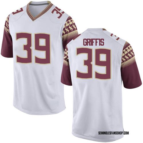 Men's Nike Josh Griffis Florida State Seminoles Game White Football College Jersey