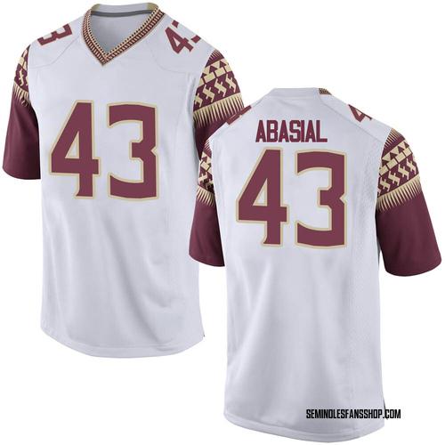Men's Nike Keoki Abasial Florida State Seminoles Replica White Football College Jersey