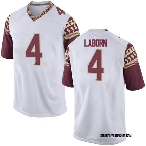 Men's Nike Khalan Laborn Florida State Seminoles Game White Football College Jersey