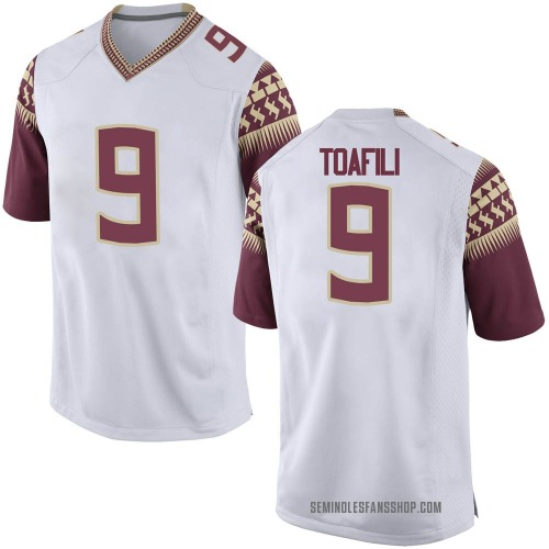 Men's Nike Lawrance Toafili Florida State Seminoles Game White Football College Jersey