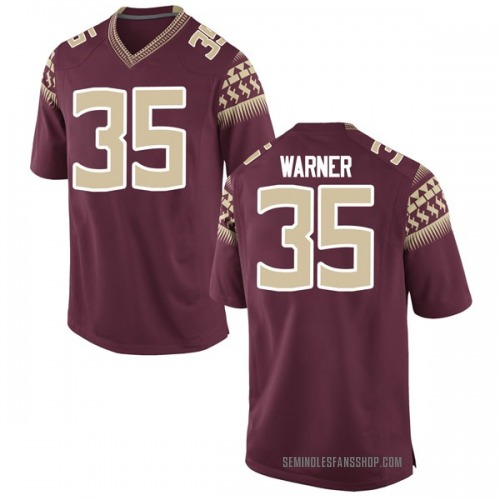 Men's Nike Leonard Warner III Florida State Seminoles Game Garnet Football College Jersey