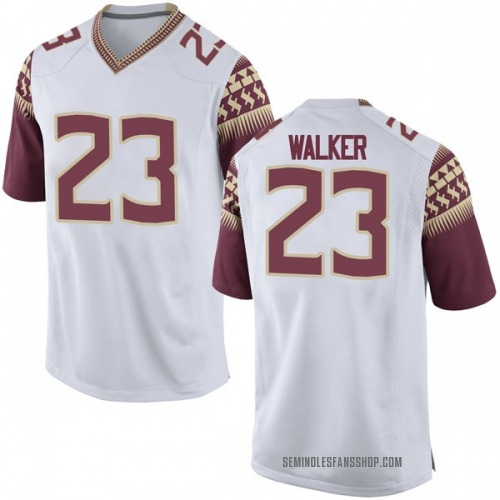 Men's Nike M.J. Walker Florida State Seminoles Game White Football College Jersey