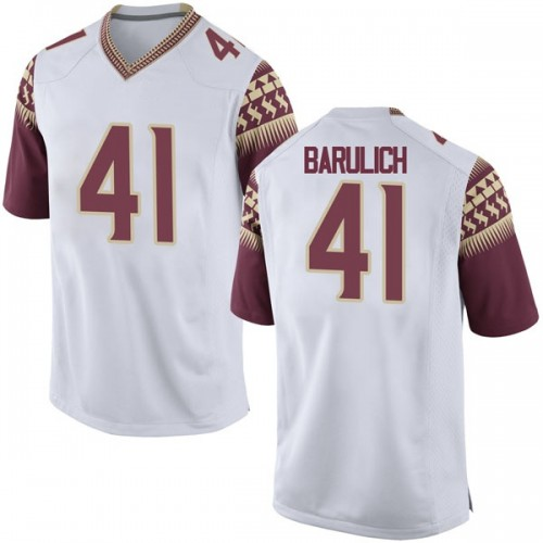 Men's Nike Michael Barulich Florida State Seminoles Game White Football College Jersey