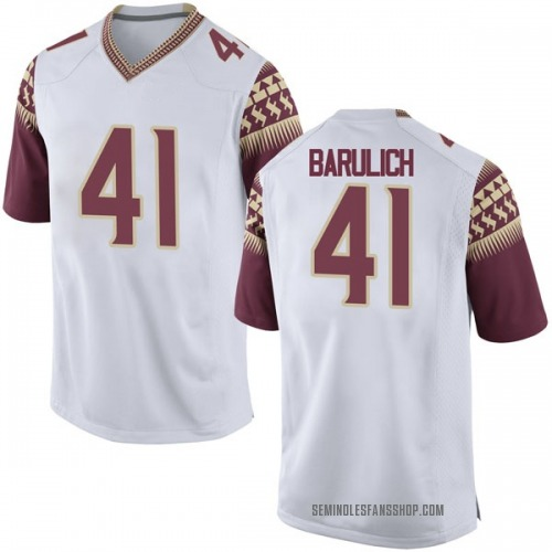 Men's Nike Michael Barulich Florida State Seminoles Replica White Football College Jersey