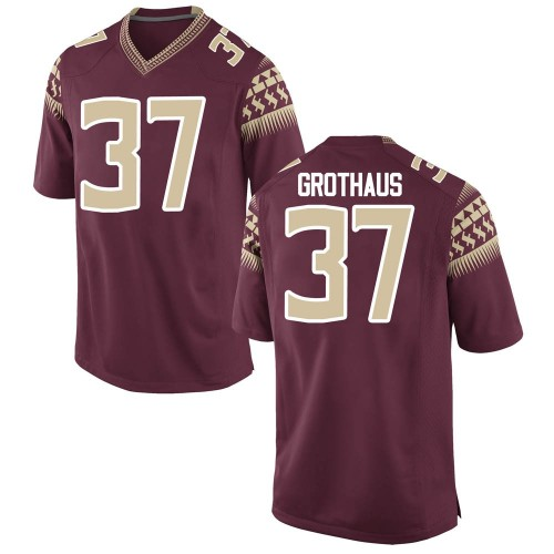 Men's Nike Parker Grothaus Florida State Seminoles Game Garnet Football College Jersey