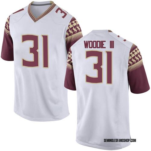 Men's Nike Raymond Woodie III Florida State Seminoles Game White Football College Jersey