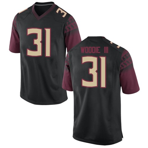 Men's Nike Raymond Woodie III Florida State Seminoles Replica Black Football College Jersey