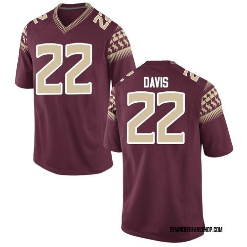 Men's Nike TJ Davis Florida State Seminoles Game Custom Garnet Football College Jersey