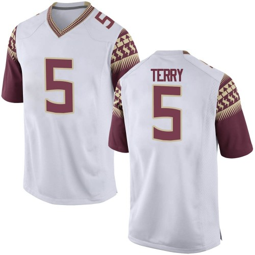 Men's Nike Tamorrion Terry Florida State Seminoles Game White Football College Jersey